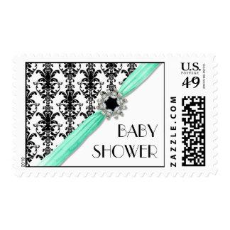 Vintage Jewel Buckle Black White Damask Save Date Postage