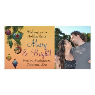 Vintage Jewel Tone Ornament Christmas Photo Card Template