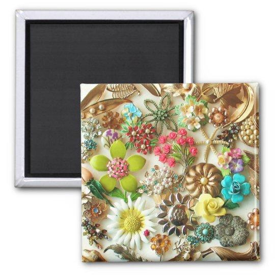 Vintage Jewels Floral Magnet
