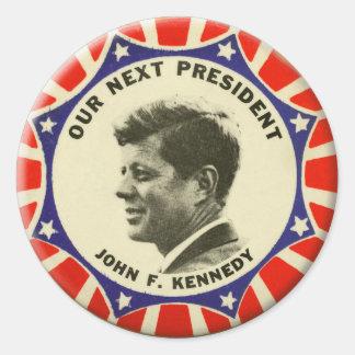 Vintage JFK John Kennedy Button Our Next President Classic Round Sticker