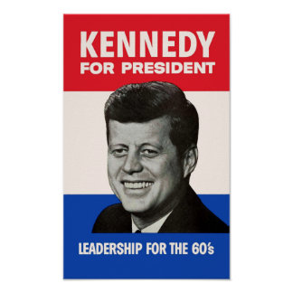 Vintage JFK Kennedy for President 1960 Campaign Poster
