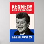 Vintage JFK Kennedy para el presidente 1960 Póster