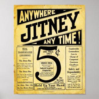 Vintage Jitney Bus Transportation Sign Poster