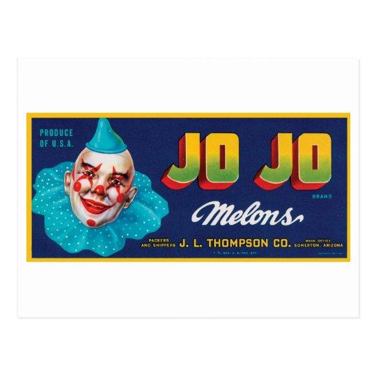 Vintage JO JO Melons Crate Label Postcard
