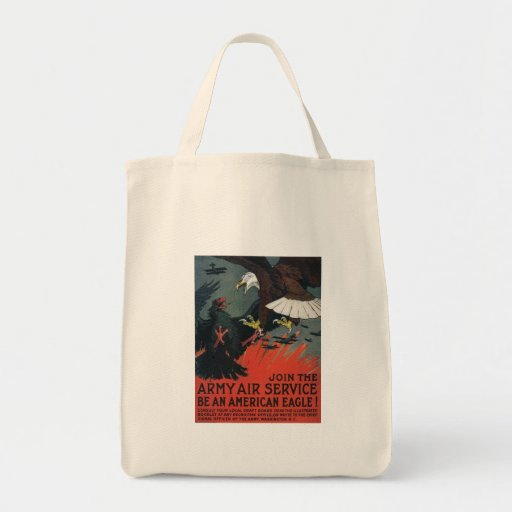 Vintage Join the Army Air Service Grocery Tote Bag