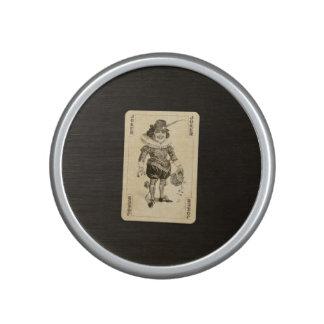 Vintage Joker Playing Card on Black Burlap Like Speaker