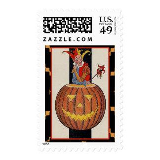 Vintage Joker Victorian Halloween Art Cards Postage Stamp