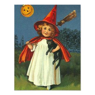 Vintage JOL Moon Witch Halloween Party Invitation