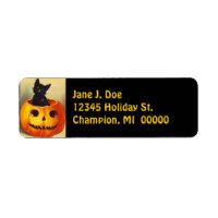 Vintage JOL Pumpkin Black Kitten Address Labels