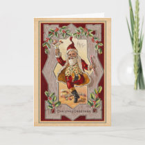 Vintage Jolly Christmas Santa Dancing a Jig Holiday Card