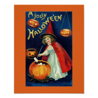 Vintage Jolly Halloween Girl Witch Poster