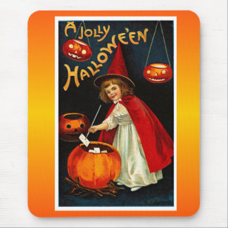 Vintage Jolly Halloween Red Witch Mouse Pads