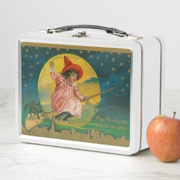 Halloween Themed Vintage Jolly Halloween Witch Metal Lunch Box