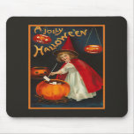 Vintage Jolly Halloween Witch Mousepad