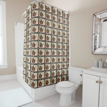 Vintage Jolly Halloween Witch Pattern Shower Curtain