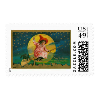 Vintage Jolly Halloween Witch Stamps