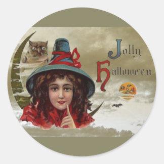 Vintage Jolly Halloween Witch Round Sticker