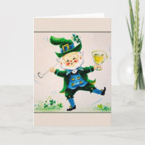 Vintage Jolly Leprechaun St. Patrick's Day Card. Card