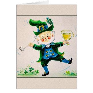 Vintage Jolly Leprechaun St. Patrick's Day Card. Card