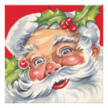Vintage Jolly Retro Santa Claus Christmas Party Announcement