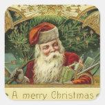 Vintage Jolly Santa Christmas Square Stickers