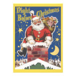 Vintage Jolly Santa Claus Christmas Party Personalized Announcements