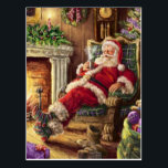"""Vintage Jolly Santa Sitting by Fireplace Postcard<br><div class=""""desc"""">This retro Santa Claus just puts anyone in a good mood. Enjoy this vintage postcard brought back to life via Zazzle.</div>"""
