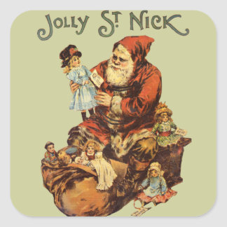 Vintage Jolly St. Nick Square Sticker