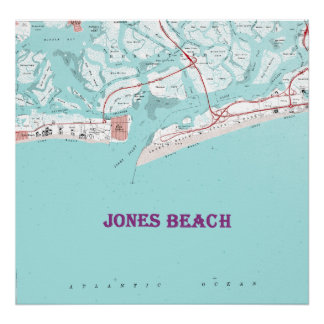 Vintage Jones Beach New York Map on Canvas Large F Poster