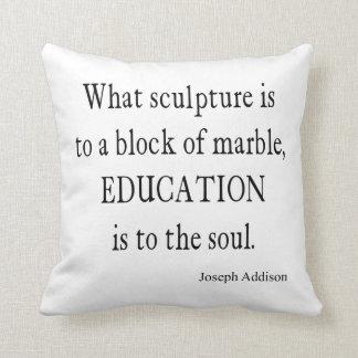 Vintage Joseph Addison Education Quote Throw Pillow