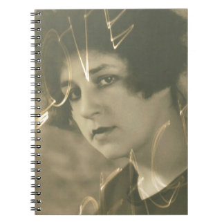 Vintage journal with sepia old photo