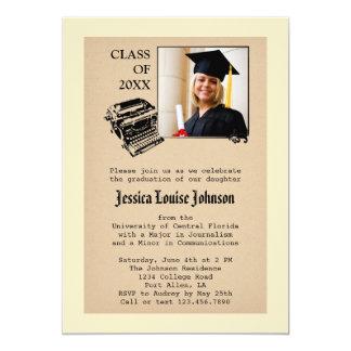 Vintage Journalism Graduation Photo Invitation