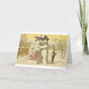 Vintage Joyeux Noel Snowman & Woman Card