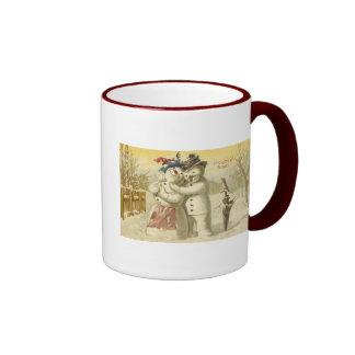 Vintage Joyeux Noel Snowman & Woman Card Mug