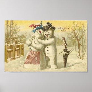Vintage Joyeux Noel Snowman & Woman Card Print