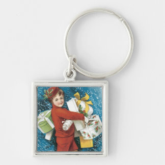 Vintage Joyous Christmas Greeting Keychain