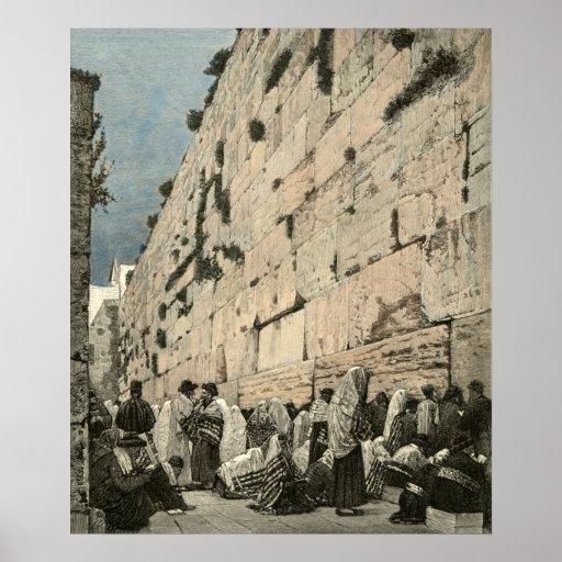 Vintage judío de Kotel Buraq Jerusalén de la pared Impresiones