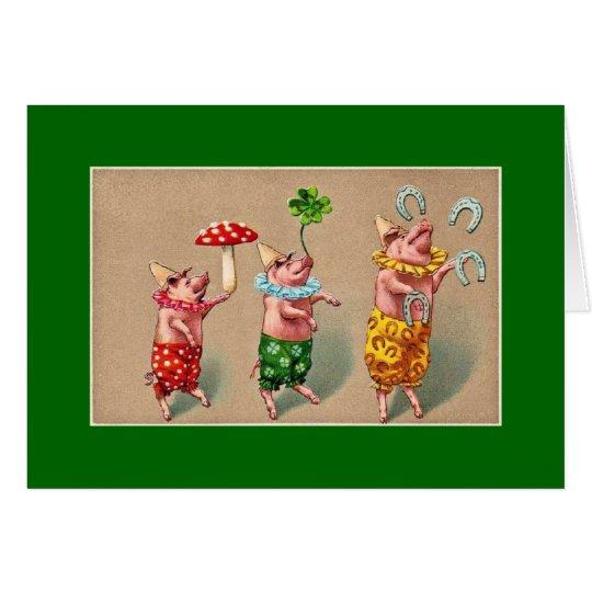 Vintage Juggling Pigs Card