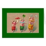 Vintage Juggling Pigs Greeting Card