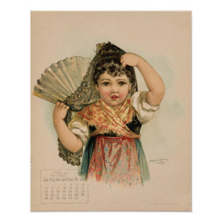 Vintage July 1891 beautiful children drawing Poster