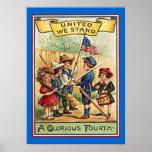 vintage july 4 kids poster