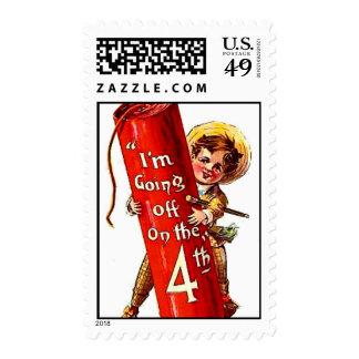 Vintage July 4th Firecracker Victorian Boy Joke Postage