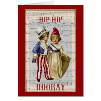 "Vintage July 4th ""Hip Hop Hooray"" Children Card"