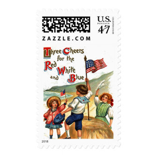 Vintage July 4th Victorian Kids Flag Beach Cute Postage Stamp