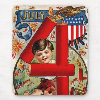 Vintage July Fourth Fireworks Mouse Pad