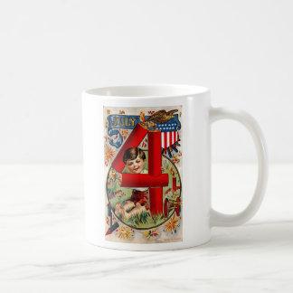 Vintage July Fourth Fireworks Classic White Coffee Mug
