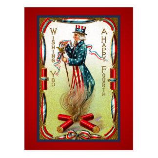 Vintage July Fourth Uncle Sam USA Postcard