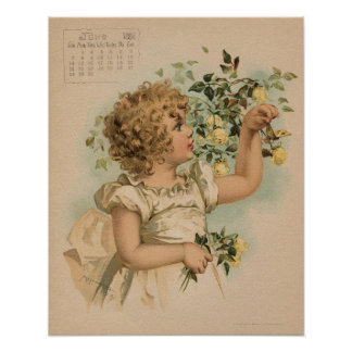 Vintage June 1891 beautiful children drawing Poster
