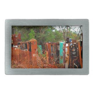 Vintage Junk Yard Gas Pumps Rectangular Belt Buckle