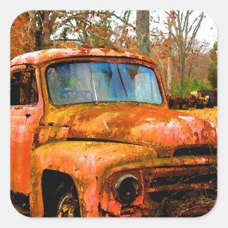 Vintage Junkyard Pickup Truck Square Sticker